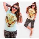 G1201 Cotton Women T-Shirt , Top, Big Cat Face