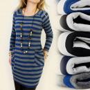 C1109 vestido suelto, patrón de rayas, BOLSILLOS