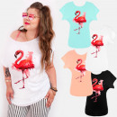 K616 Cotton Women Shirt ,Plus Size, Pink Flamingo
