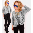 R63 Pull oversize ample, chemisier chaud, feuilles
