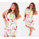 C17516 Women Plus Size Dress, White &Lilies