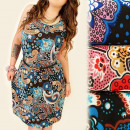 FL524 Airy, Robe à  motifs, Tunique, Grandes taille