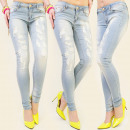 B16292 SEXY LADIES JEANS, HOLES, FIT LINE MIX