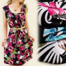 FL175 LOOSE DRESS,  TROPIC FLOWERS, LARGE SIZE MIX