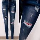 Großhandel Hosen: B16836 Damen Jeanshose mit Löchern, Karo