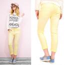 B16645 Losvallende comfortabele jeansbroek, gele B