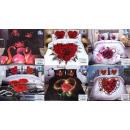 Großhandel Bettwäsche & Matratzen: Beddin Set, 160x200, 3 Teile, Liebe & Herz, Z1
