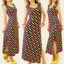 K102 SUMMER DRESS, neon polka dots, MAXI MIX