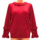wholesale Pullover & Sweatshirts: Women Sweater, UNI, Glossy Look & Frills, D14124