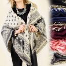 FL259 foulard  glamour, plaid, cape, poncho