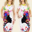 3948 DRESS,  DRAWING PRINT FLOWER GIRL MIX