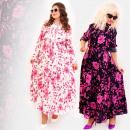 C17559 Langes, feminines Kleid, Übergröße, Blumen