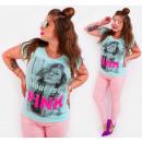 G1204 katoenen dames T-Shirt , pastel top, roze me