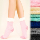 wholesale Shoes: 4132 Winter Socks  with Fur, ABS Slippers, Pastels