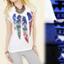 ingrosso Ingrosso Abbigliamento & Accessori: K358 COTONE  CAMICIA, TOP,  piume di uccello ...