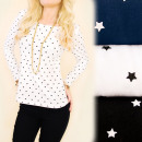Großhandel Hemden & Blusen: C11313 Trendy Bluse, Langarm, Charmante Sterne