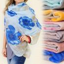 groothandel Kleding & Fashion: FL236 UITGEBREIDE sjaal, decoratieve bloemen patro
