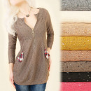 Großhandel Hemden & Blusen: BI630 Sweater Loose Tunika, Golden Slider, ...