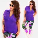 Großhandel Hemden & Blusen: 4587 Daily Bluse, DAMEN-Oberteil, Übergröße, V-Aus