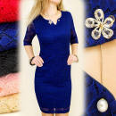 BI130 ELEGANT,  LACE DRESS WITH brooch