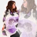 O26 Schal, Damenschal, Druck in verschiedenen Räde