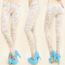 ingrosso Jeans: B16489 pantaloni  jeans, SLIM LINE, fiori pastello