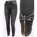 B16770 Women Jeans, Sliders and Bows, Gray