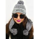 A1249 Bonnet d'hiver pour femme, manchette en