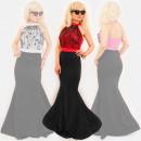 EM100 Robe glamour pour femme, sirène et boule de