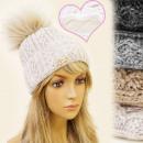 Großhandel Kopfbedeckung: FL328, WARM, CAP  LADIES, isolierte Fleece, POMPON