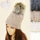 wholesale Headgear: C17439 Warm Fleece  Cap, Hat, Fury Pompon