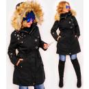 wholesale Coats & Jackets: 4410 Long Women's Jacket with Fur, Black
