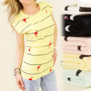 K120 COTTON TOP,  BLOUSE, FLAMING ON LINES MIX