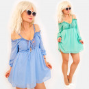 Großhandel Kleider: EM92 Frauenkleid, Halsausschnitt, Spitze, HIT