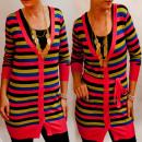 D14107 Pullover Damen Tunika Kleid, bunte Streifen