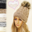 wholesale Headgear: FL330 LADIES CAP,  HAT, insulated fleece, POMPON