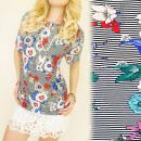 Großhandel Hemden & Blusen: FL533 Lose, Sommerbluse, Blumen und Streifen