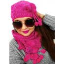 Großhandel Kopfbedeckung: A1265 Winter Damen Set: Mütze mit Bommeln + Schal