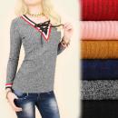 ingrosso Ingrosso Abbigliamento & Accessori: BI608 Lovely Bluse, Melange, Scollo allacciato