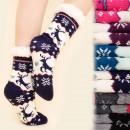 groothandel Schoenen: 4177 Warme lange  sokken, ABS-sloffen, bont