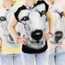 wholesale Shirts & Tops: 3937 COTTON TOP,  BLOUSE, BEAUTIFUL WOLF 3D, MIX