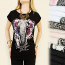 K329 blusa del  algodón, TOP, elefante EXÓTICA