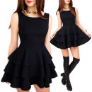 C24194 Made in  Poland, Liitle Black Dress, Frills