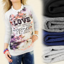 wholesale Pullover & Sweatshirts: K208 ROMANTIC SWEATSHIRT, NADRUK LOVE HAPPINESS