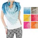 Großhandel Tücher & Schals: Schal, mit Spitze und Quasten, OMBRE