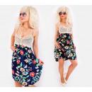 Großhandel Kleider: C17521 Damenkleid mit Spitzenabschluss