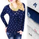 Großhandel Hemden & Blusen: C11449 Lose Bluse, V-Ausschnitt, Schleife