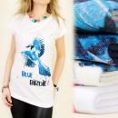 K305 COTTON BLÚZ,  TOP PRINT BLUE BIRDIE