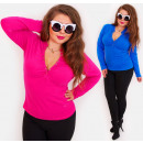 wholesale Fashion & Apparel: 4375 Plus Size Blouse, Classic Trendy Top, V Neck