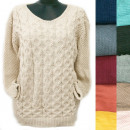wholesale Pullover & Sweatshirts: Classic Loose Women Sweater, V-neck, R129